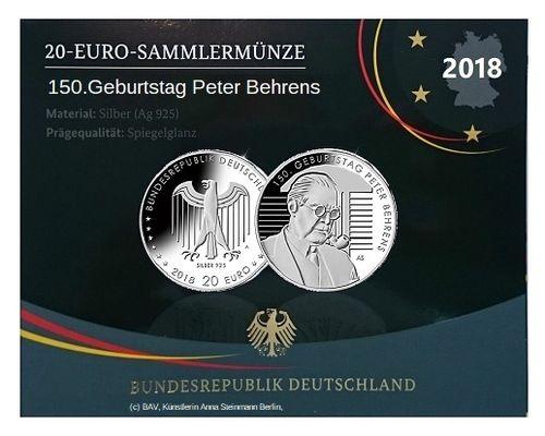Vfs Ausgabepreis 20 Euro Silber Deutschland Spiegelglanz 2018 Peter